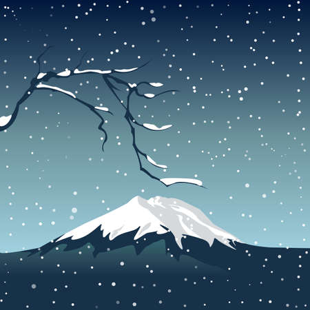 Mountain and a branch of sakura in snowstorm