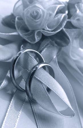 bw: Wedding rings. bw + blue tone
