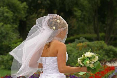 The bride walks in park Stock Photo - 511922
