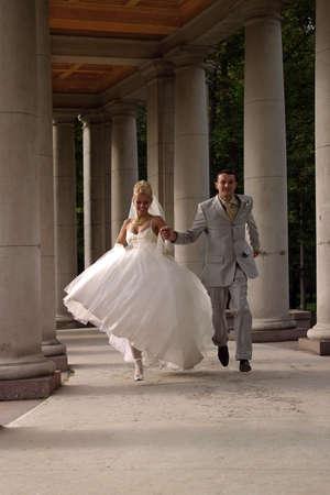 descendants: The groom and the bride run