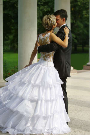 recently: Recently married pair has kissed in park