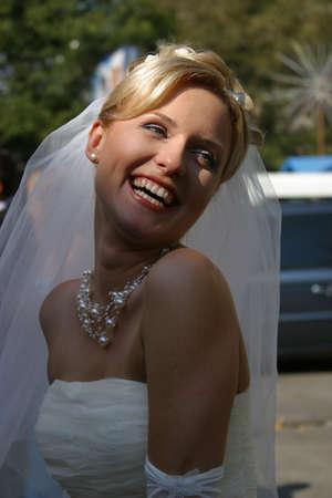 debutante: Beautiful smiles of the bride of the blonde. The happy Bride.
