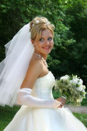 debutante: Beautiful smiling bride
