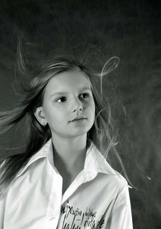 developing: Portrait of the girl close-up with developing hair. bw+blue tone Stock Photo