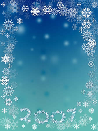 bluegreen: Abstract with white snow flakes against blue-green background Stock Photo