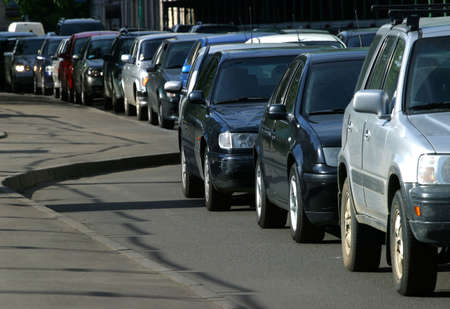slowdown: Traffic jam in Moscow in the summer