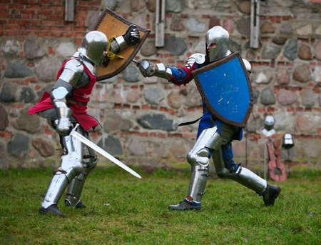 kaunas: Struggle medieval knights. Show in Kaunas Stock Photo