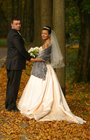 Beautiful the bride and the groom in autumn park Stock Photo - 819882