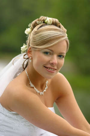 The beautiful bride on a green background Stock Photo - 853520