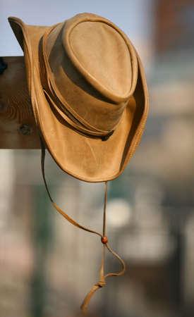 Lederner beige Hut des Cowboys