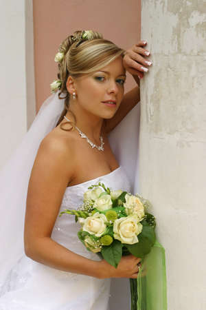 contestant: The beautiful bride with a bouquet from roses