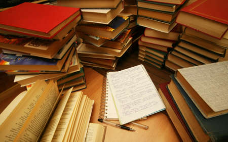 Many old books combined by a heap Stock Photo - 1158301