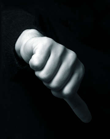 condemnation: Hand showing the hand down symbol Stock Photo