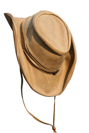 Leather beige hat of the cowboy Stock Photo