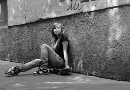 The girl with skateboard Stock Photo - 1291056
