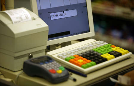 supermarket cash: Cash register in shop and credit card register