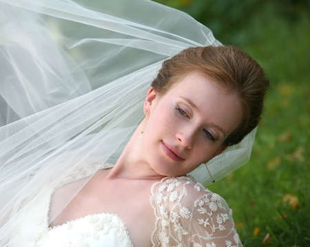The beautiful bride on a green background Stock Photo - 1599816