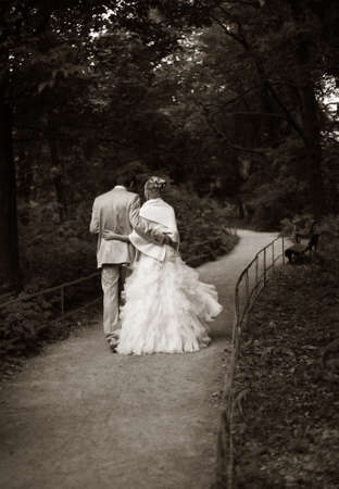 contestant: Beautiful the bride and the groom in autumn park