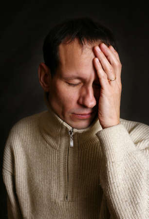 The adult the man suffers a headache
