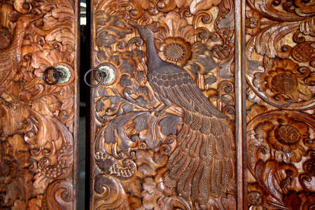 reliably: Wooden door decorated with a groove Stock Photo