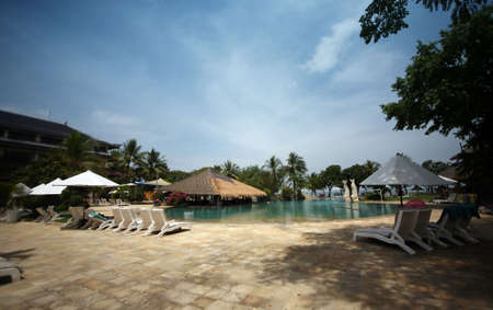 cool off: Swimming pool to cool off in on that perfect summer holiday. Hotel Kartika. Bali Stock Photo