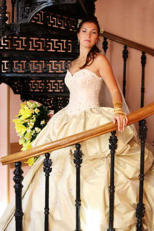 The beautiful bride on a pig-iron ladder photo