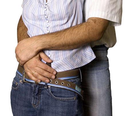 alkalmasság: The husband embraces the wife for a waist