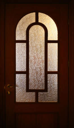 matt: Home door with matt glass Stock Photo