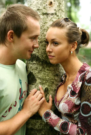 Young girl and the man in a forest Stock Photo - 2407792