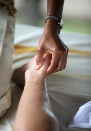 bali massage: White man on massage in Bali salon
