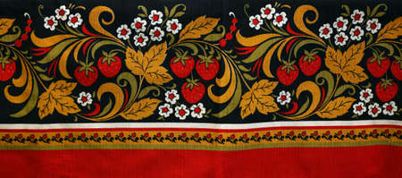 souvenir traditional: Fabric with the image of a strawberry and colors in Russian style