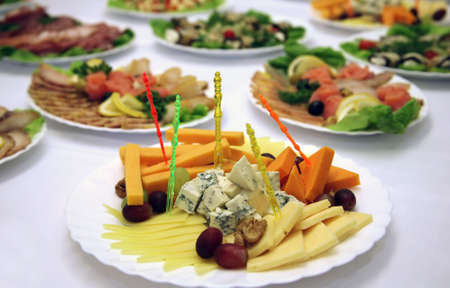 Different meal on a celebratory table . Stock Photo