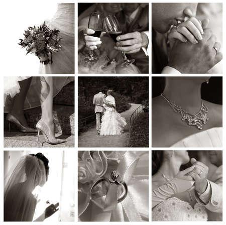 Collage von neun Hochzeit Fotos in Sepia-Ton  Lizenzfreie Bilder