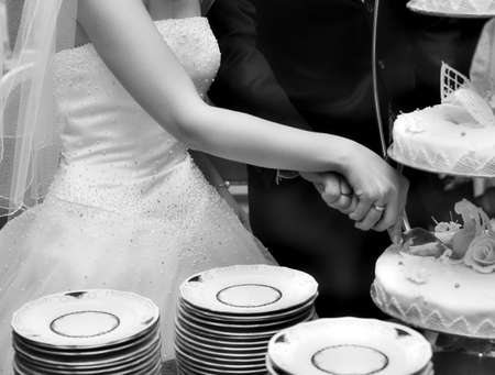 The groom and the bride cut a wedding pie Stock Photo - 2792639