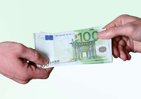 Mans hands hold dollars banknotes money photo