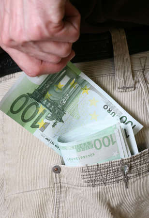 careless: Euros which have endured from the pocket - the close up shot