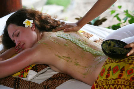 bali: White woman on massage in Bali salon Stock Photo
