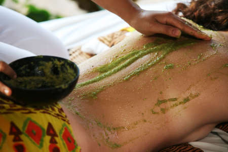 White woman on massage in Bali salon Stock Photo