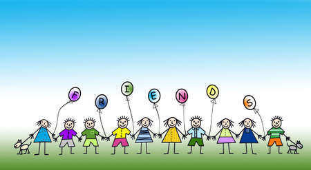 Cartoon illustration of multi kids holding hands Stock Illustration - 3178074