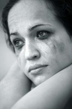 crying girl: Portrait of the lonely crying girl