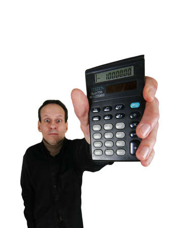 Adult man in black suit with calculator in hand on white background photo