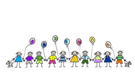 Caricatura de ilustración de varios niños tomados de la mano Foto de archivo - 3425206