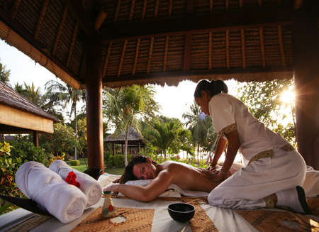 White woman on massage in Bali salon Stok Fotoğraf