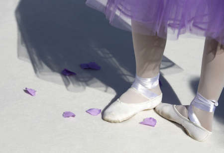 pointes: Ballerina in pointe shoes with shadow