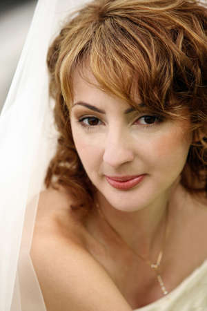 Portrait of the beautiful bride close-up photo