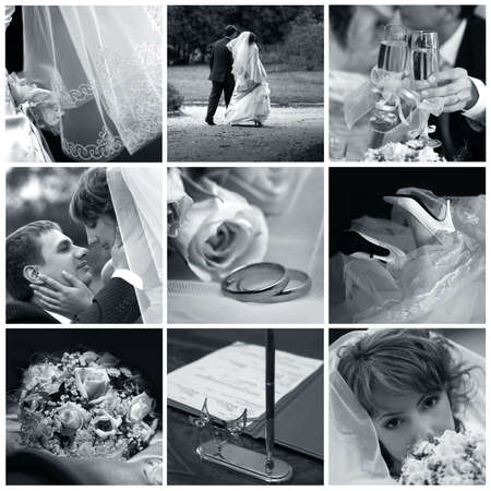 Collage of nine wedding photos in blue tone Stock Photo - 3673102