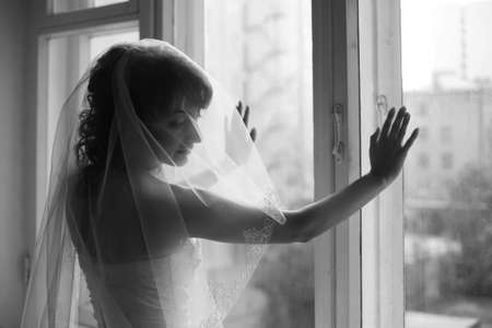 The beautiful bride is closed by a veil Stock Photo - 3670031