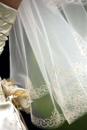 Wedding veil and part of a wedding dress Stock Photo - 3673166