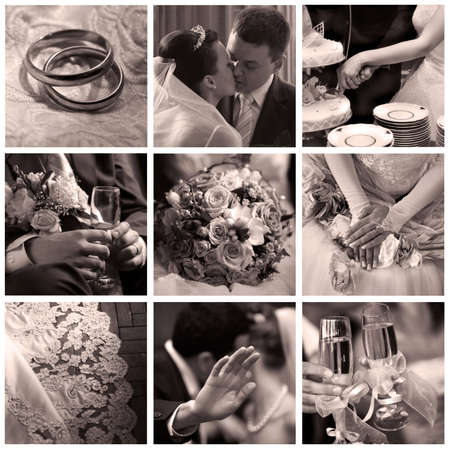Collage of nine wedding photos in sepia Stock Photo - 3673167