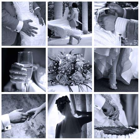 Collage of nine wedding photos in gentle - blue tone Stock Photo - 3673168
